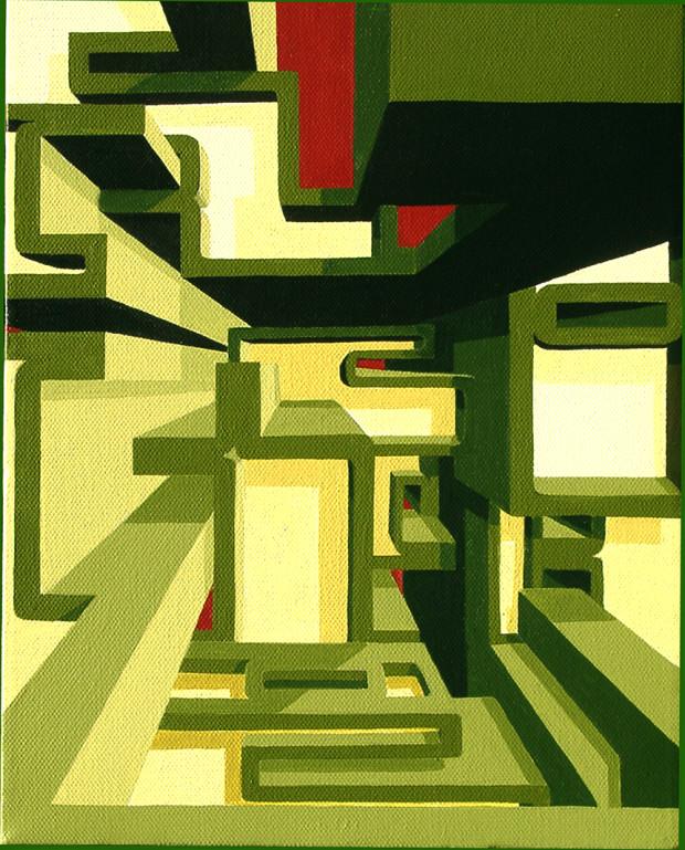 """""""Rocket"""" , 2003,, acrylics on canvas, Size: 30cm x 24cm"""